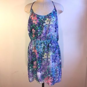NWT Silky Flower Print Racerback Cinched Dress